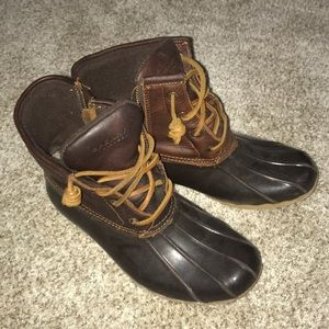 Brown duck boots from sperry